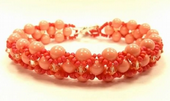 Cross-weave, Embellished Beadwork Bracelet Jewellery Making Kit with SWAROVSKI® ELEMENTS Coral